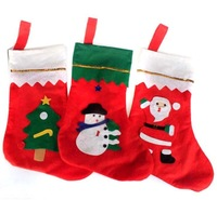 Factory Direct 2014 new Christmas tree accessories Santa sock Non-woven Christmas Supplies Free shipping