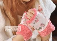 Small plush 2014 thermal gloves fingerless mittens female