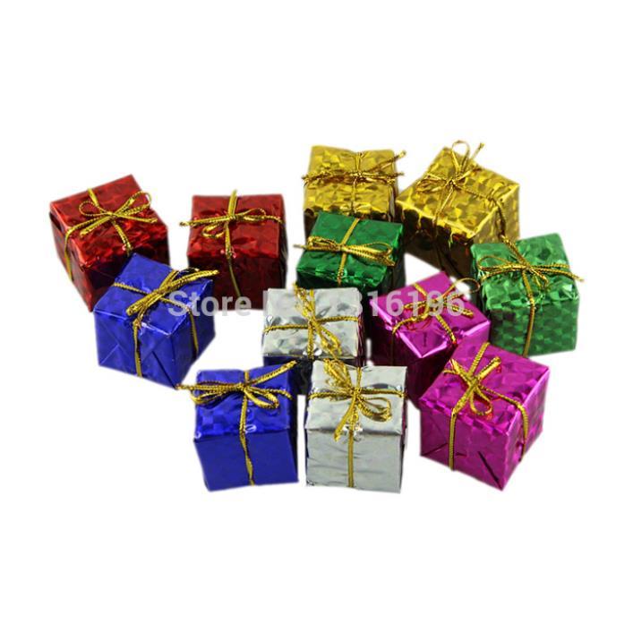 12pcs/lot Christmas color Gift Box Baubles Christmas Tree Ornament Decor 3cm Hot Selling(China (Mainland))