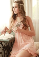 Big soft silky transparent gauze lace nightgown viscose princess sleep set lounge