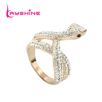 Luxury 2014 New Fashion Aneis Femininos Gold And Silver Color Snake Shape Rhinestone Rings For Women Accessories