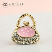 H554b Brand New 3pcs Cute Pink Coin Bag Crystal Pendant Charm