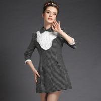 S-5XL Brand new Women Vintage Black White Polka Dot Feather Patchwork Long Sleeve work Dresses Autumn Winter Plus Size Clothes