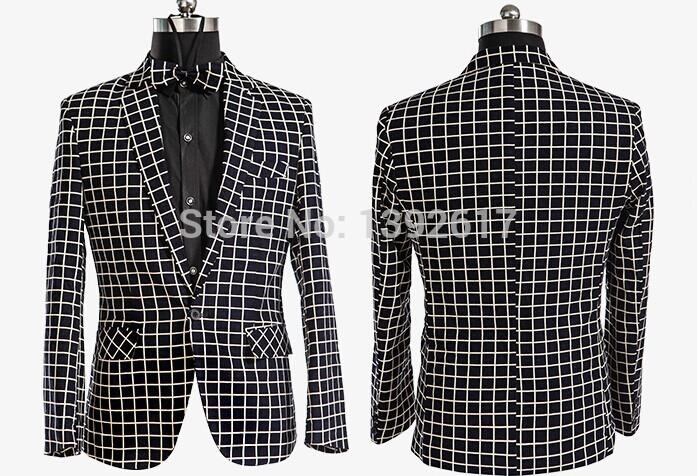 Free ship mens check pattern tuxedo jacket wedding/stage performance jacket(China (Mainland))