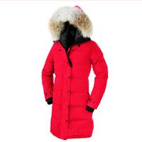 2015 Fashion Top Grade Women Warm Slim Real Large Fur Collar Goose Down Women's Parka Jacket Winter Coat Warm Long Jacket Woman