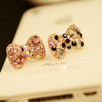HOT SALE 3.5mm Crystal Rhinestones Cellphone Charms Earphone Audio Headphone Anti Jack Bow Dust Plug Phone A122