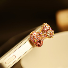 HOT SALE 3 5mm Crystal Rhinestones Cellphone Charms Earphone Audio Headphone Anti Jack Bow Dust Plug