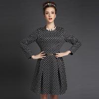 S-5XL Brand Elegant Ladies Black Plaid Print Long Sleeve A-line work Dresses Autumn Winter Fashion Plus Size Women Clothing