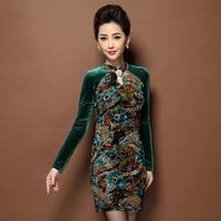 Plus size Fashion Velour women dresses,Elegant mother dress Gold foil stamping Korea velvet dress winter wear Free shipping8201J