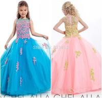 2014 Stunning Ball Gown Flower Girls Drsss Floor Length Lace Applique Beads Girls Pageant Dress Pink Little Girls Prom Dress