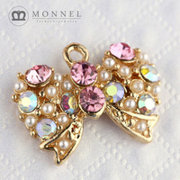 H285b Brand New 3pcs Cute Pink Style Crystal Bow Pendant Charm