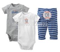 2014 Hot Original Carters 3pcs Bodysuit Pant Sets for Newborn Infant Boy Clothing Sets 3 Months