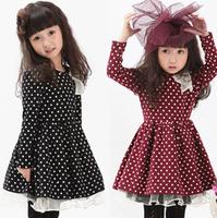 2014 summer dress girl Pure color render dot lady bitter fleabane bitter fleabane  girls dresses princess dress