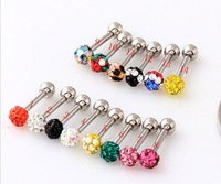 Crystal Gem Ear Stud Bone Shambhala Rhinestone 3mm Beads stud earrings mix colorful 316L Stainless Steel Wholesale Free shipping