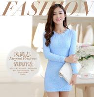 Slim slim waist long-sleeve slim hip lace thermal one-piece dress plus size basic shirt dress plus velvet thickening