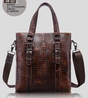 Crocodile bag handbag the first layer cowhide men's Shoulder Bag Messenger Bags for men multifunctional male bag handbag