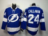 Free Shipping Men's Hockey Jersey Tampa Bay Lightning Jersey #24 Ryan Callahan Ice Hockey Jersey Embroidery Logos Jersey