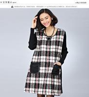 2014 Winter Coat New Plus Size Women Plaid Dress Black Contrast Color Pockets Knee Length Casual Dresses Woman Big Size Dress