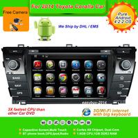 Pure Android 4.2.2  7''Car DVD Player for TOYOTA Corolla 2014,AutoRadio,GPS,Navi,Multimedia,Radio,Ipod,Free Cam,Free shipping
