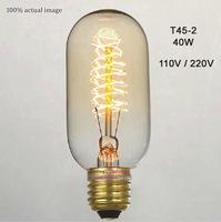 T45-2 Retro Incandescent Vintage Light Bulb DIY Handmade Edison Bulb Fixtures,E27/110V/220V/40W lamp Bulbs 1 pcs Free Shipping