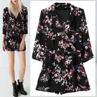 New Arrivals Celebrity Women Trendy Ethnic Colorful Floral Print Black Short Bodysuit Jumpsuit Romper one piece Hot Sale