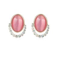 new brand design fashion woman selling 18K gold earrings OL Qiushuiyiren oval opal earrings 96399