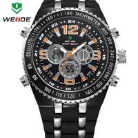 30m water resistant silicone strap wristwatch WEIDE military watches men luxury brand watch digital analog Japan movement
