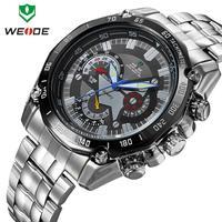 Hot Military watches men luxury brand WEIDE full stainless steel watch luminous analog quartz 30m waterproof clock free shipping