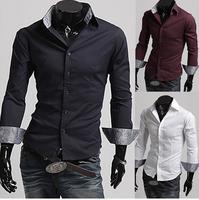 Free Shipping High Quality New Arrival Hot Sale StylishLong Sleeve Turn-down Collar Man Cotton Shirt