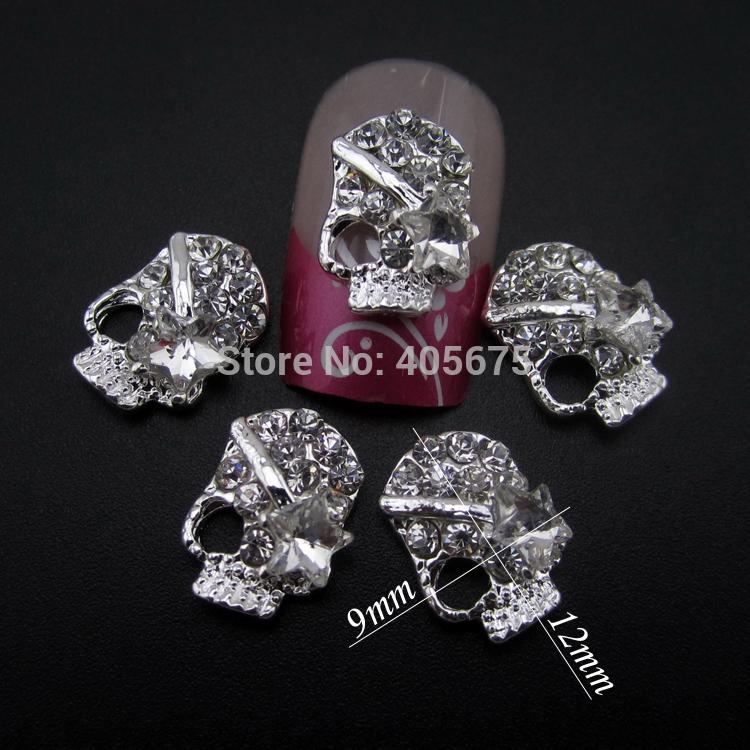 50pcs Glitter Star 3d nail art skull crystal nail deisgns DIY phone decorations charms MNS782(China (Mainland))
