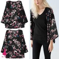 New Trendy Spring Boho Colorful Flowers Print Black Kimono Cardigan Jacket  No Button Blouse Shirt Top Blusas Femininas Blusa