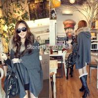 Autumn women's fashion personality loose  batwing sleeve fur collar cloak woolen ponchos  outerwear