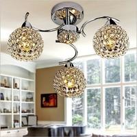 Modern LED k9 crystal chandeliers bedroom living room dining 3 head sphere chandelier