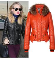 2014 Big Brand Fashion Women's Slim Motorcycle Leather Jacket Autumn Winter Women PU Leather Trench Coat