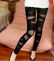 Women Fashion Black Ripped Cutout Torn Punk Mid Elastic Waist Hippies Leggings Rock Pants,Boots Legging (Free shipping)