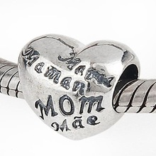 925 Sterling Silver MOM Heart Charms with MOM Love in Different Languages Beads Fits European Pandora