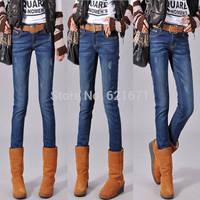 2014 Winter Women Casual Vintage Fashion Warm Fleece Slim Skinny Pencil Pants Denim Jeans S/M/L/XL/2XL/3XL/4XL/5XL Plus Size