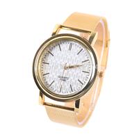 High Quality Mesh Stainless Steel Dress Wristwatches New Brand Golden Quartz Watches Women Fashion Dress Wristwatches