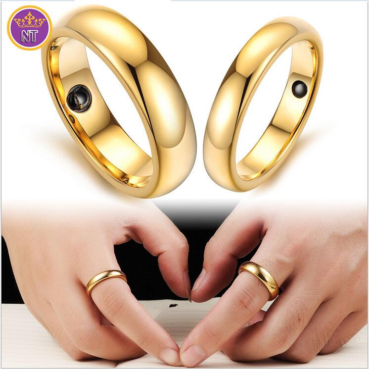 Tungstênio embutimento energia magnética pedra alianças de casamento los ouro casal presentes de casamento dia dos namorados jóias anéis para as mulheres(China (Mainland))