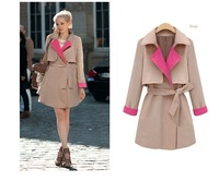Large Turn Down Collar Wool Winter Coat Women Woolen Trench Coats With Belt Woman Single Breasted Long Overcoat C1010