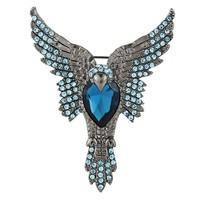2015 New Fashion Blue Eagle With Heart Shape Rhinestone Women Brooch,Free shipping