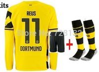 14/15 top thailand Borussia Dortmund Home long sleeve  #11 Marco Reus  Soccer jersey set,shirt+short + the match sock uniform