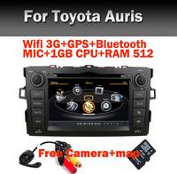2 din Car radio DVD GPS for Toyota Auris with Wifi 3G GPS Bluetooth Radio TV USB IPOD Steering wheel control Free Camera+Map