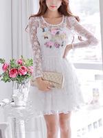 2014 wholesale autumn white flower lace long-sleeve princess for girl romantic dress UK