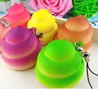 (30pcs)5cm colorful Poo Square toast bread squishy PU soft round Cell Phone charms and bag Accessories mix color order