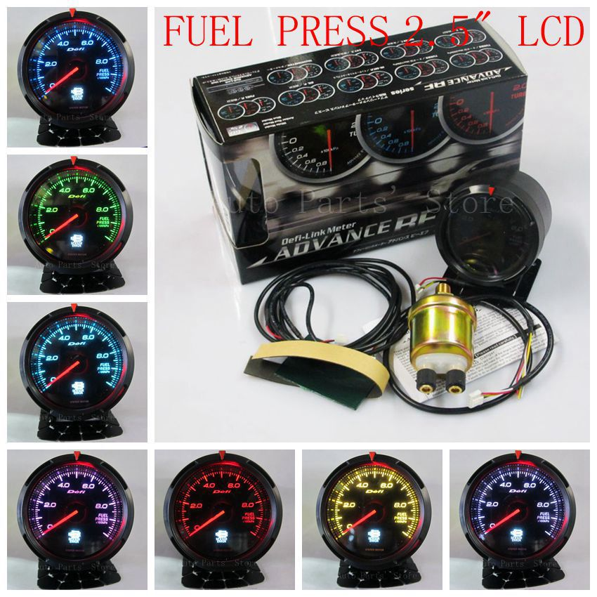 60mm DEFI Advance BF auto gauge Black face come with LCD Display sensors Fuel pressure Gague car meter 33 kinds of colors(China (Mainland))