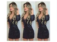 Free shipping!Elegant Women's Slim Shiny black patchwork dress Slim V-neck lace stitching party clubwear dress