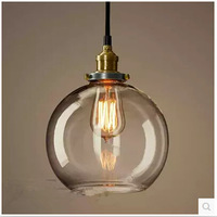 Creative Glass Ball Chandelier  Retro Copper Chandelier American Country Bar Lamp Diameter 20cm 25cm