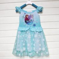 2014 Christmas Costume Frozen Vestido Fantasias Infantil Elsa Dress Princess Girls Party Dresses Toddler Girl Fashion Dress