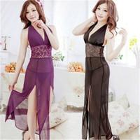 Fantasias Eroticas Mesh Halter Sleepwear Nightgown Lace Dress Vestidos Gown Erotic Lingerie Women's Plus Size Club Dresses D10